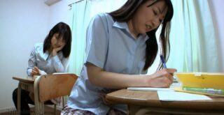 Schoolgirls lesbians scat play during the lesson - 1